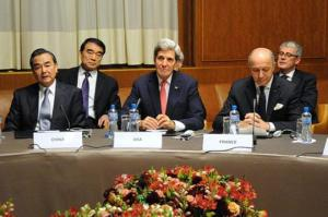 Secretary of State John Kerry with other diplomats in Geneva on Nov. 22. Photo courtesy of the U.S. Department of State