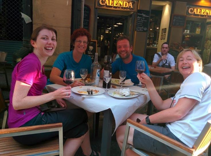 Pilgrims enjoying dinner in Logrono