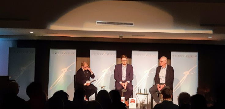 Michael Adams (on right) at May 2019 Ottawa book event.