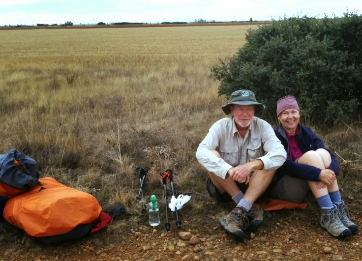 A Namibian couple stopping for lunch on the meseta