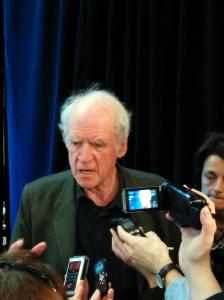 Philosopher Charles Taylor in media scrum