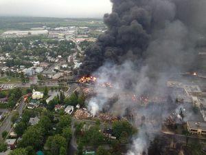 Lac-Mégantic in flames. Sûreté du Québec photo