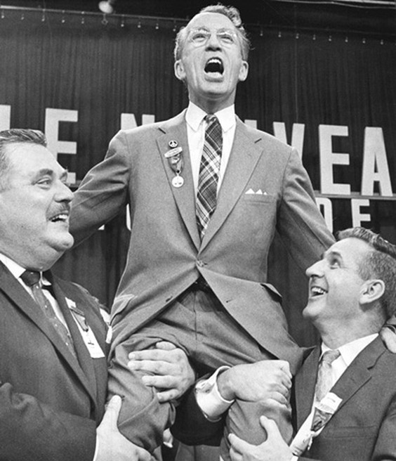 Tommy Douglas became leader of the New Democratic Party at its founding convention 60 years ago in 1961